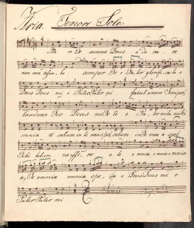 Aria. Tenor solo. Wiolíno I. [!] Wiolíno IIdo Alto Wiola. Clarinetto Imo Clarinetto II Cornuo Imo Cornuo IImo [!] Organo. Authore Ryba. Josef Janda. 3/28 1856.
