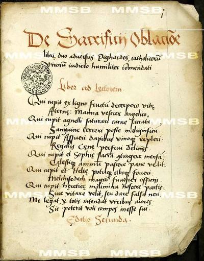 De sacrificii oblacione libri duo adversus Pighardos, catolicorum virorum iudicio humiliter commendati.