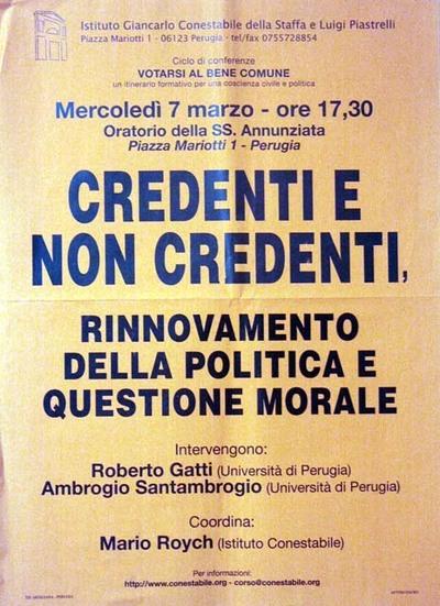 Credenti e non credenti, rinnovamento della politica e questione morale