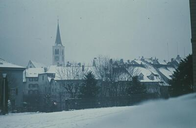 Liestal, Winter, Altstadt vom Gerichtsgebäude aus