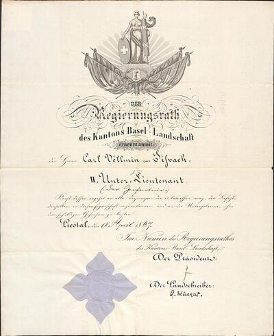 Offiziersbrevet für Carl Völlmin