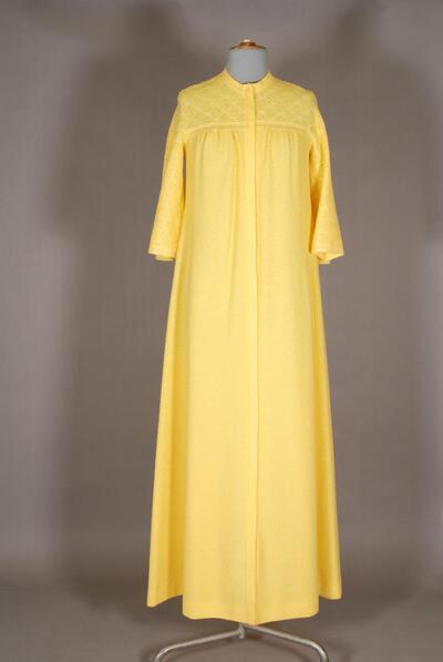 Gelbes Hauskleid mit angeschnittenen Ärmeln, für Damen