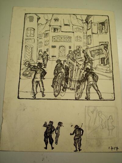Bild: Tuschezeichnung | Karikatur - Erniedrigender Kunstmarkt (II)