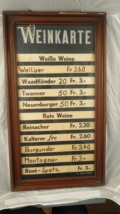Weinkarte aus Wirtschaft