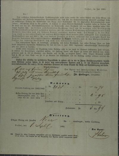Brief 08.09.1863 - von Schweiz. Mobiliar (Holinger)