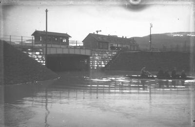 Bahnhofunterführung Laufen mit Hochwasser