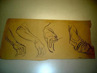Bild: Bleistiftzeichnung | Mann - Hand, Arm, Ärmel; Studie