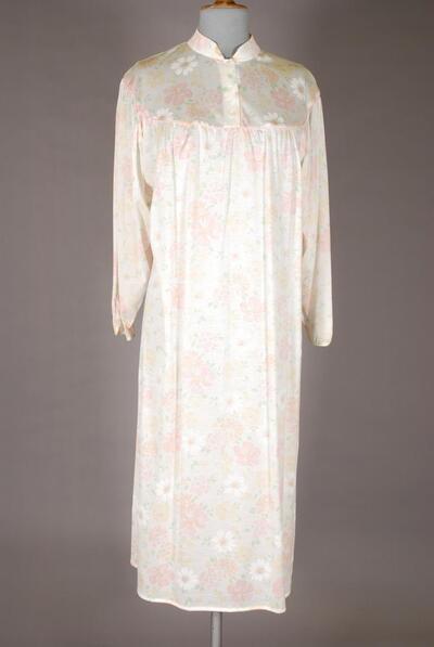 Langes Nachthemd, langarm, paspelierter Göller, rosa-gelber Blumendruck, für Damen