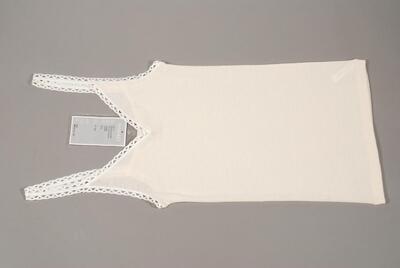 Unterhemd, beige/wollweiss, Guipure-Spitze mit Bogenmuster um Ausschnitt und Träger, für Damen