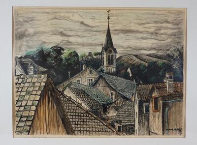 Bild Dachlandschaft Reigoldswil mit Kirchturm