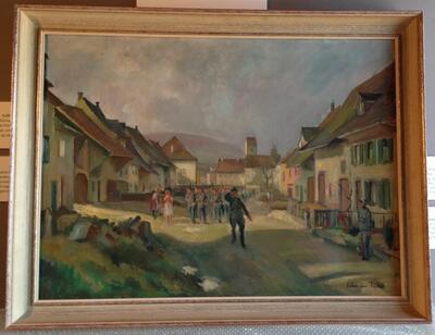 Gemälde Militär im Baselbiet  Fritz Pümpin