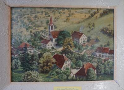Ölbild Kirche, alte und obere Schule, Pfarrhaus Reigoldswil