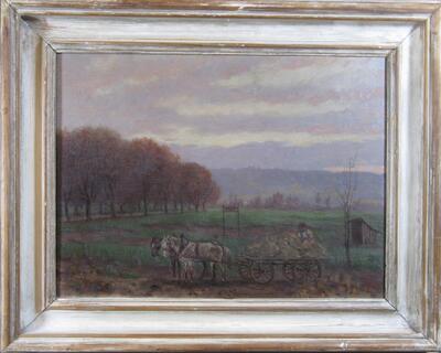 Feld auf dem Bruderholz, Bauer mit Pferdegespann