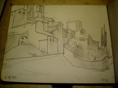 Bild: Bleistiftzeichnung   Ort I - San Gimignano