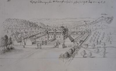 Schloss Bottmingen  gegen Basel gezeichnet. 1752