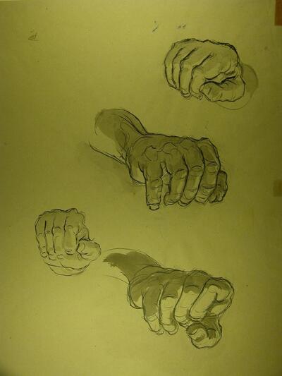Bild: Tuschezeichnung | greifende Hände