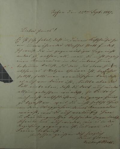 Brief 22.09.1847