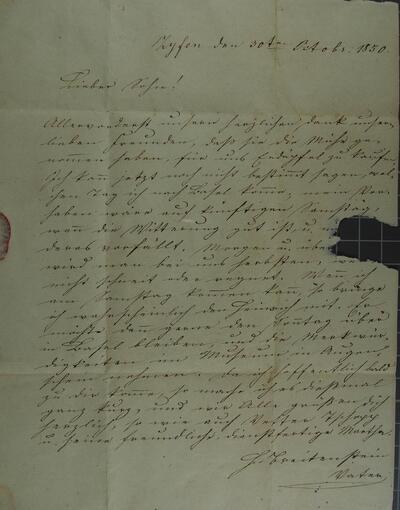Brief 30.10.1850
