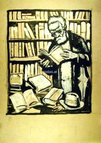 Lesender in Bibliothek