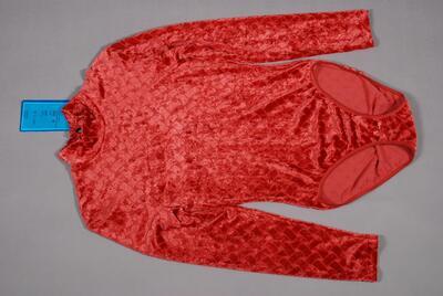 Body, rot, mit Ausbrenner-Samt, Stehkragen mit Tropfenausschnitt hinten, für Damen