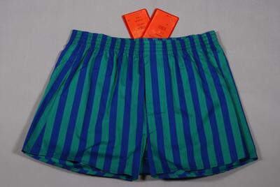 Gestreifte Unterhose (Boxer) mit Eingriff, weit, dicht, fein gepunktet, grün-blau, für Herren