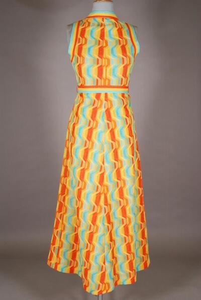 Gemustertes Hauskleid, blau-orange-gelb, für Damen