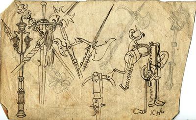 Skizzen, Studien, Historische Waffen