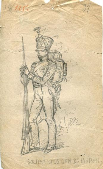 Kostümskizze/Entwurf, Soldat aus den 1830er-Jahren