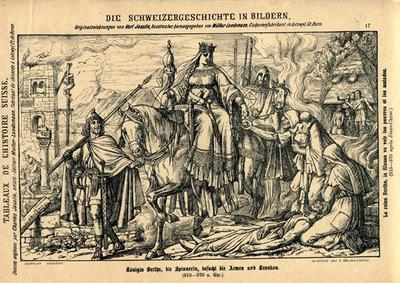 Drucke, Königin Bertha, die Spinnerin, besucht die Armen und Kranken