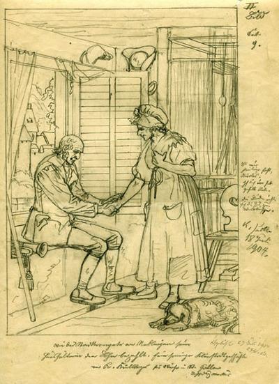 Entwürfe, Druckvorlagen, Wie der Stadttrompeter von Reblingen seiner Haushälterin den Lohn bezahlte