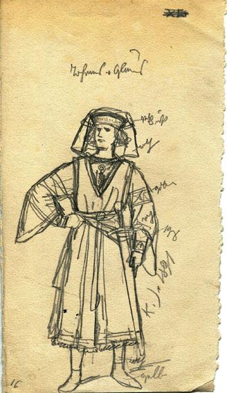 Kostümskizze/Entwurf, Johannes von Glarus