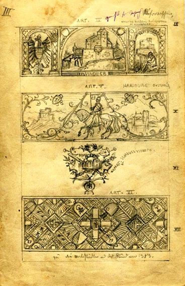 Entwürfe, Druckvorlagen, Vignette und 3 Kopfleisten / Handstudie und Gedicht