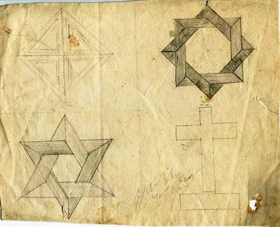 Skizzen, Studien, verschiedene geometrische Ornamente / Schraffierungen