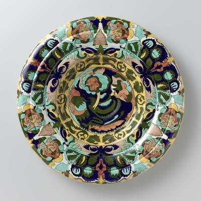 Decorative plate with plant motifs