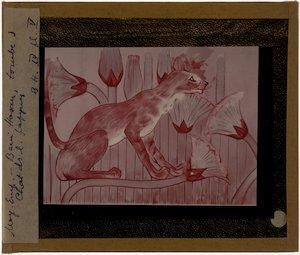 Kat, geschilderd op papyrus