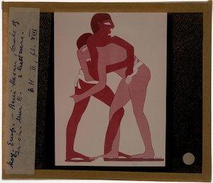 Twee worstelaars, geschilderd op papyrus