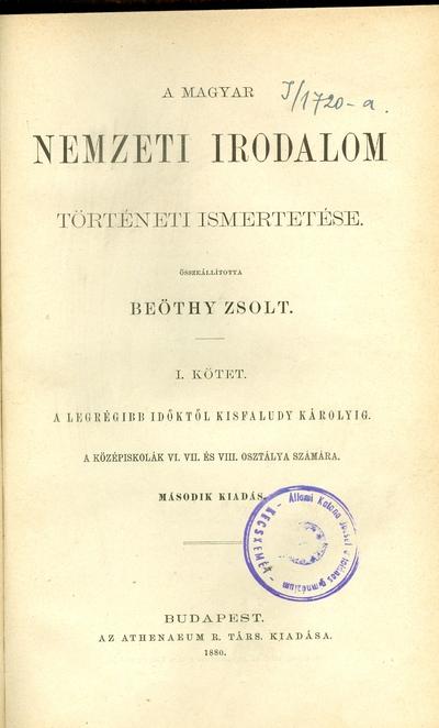A magyar nemzeti irodalom történeti ismertetése