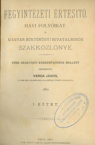 Fegyintézeti értesítő 1880