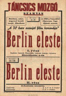 Táncsics Mozgó programjai 1950. november 4-16-ig