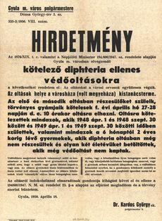 Hirdetmény kötelező oltások 1950. április 18.