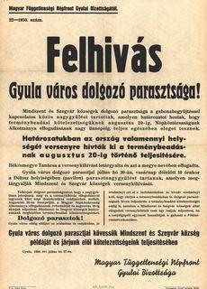 Felhívás Gyula város dolgozó parasztsága számára