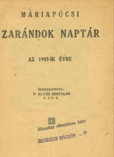 Máriapócsi zarándok naptár az 1943-ik évre