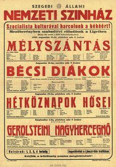 Szegedi Állami Színház programjai 1950. augusztus 11-szeptember 1-ig