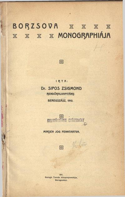 Borzsova monographiája