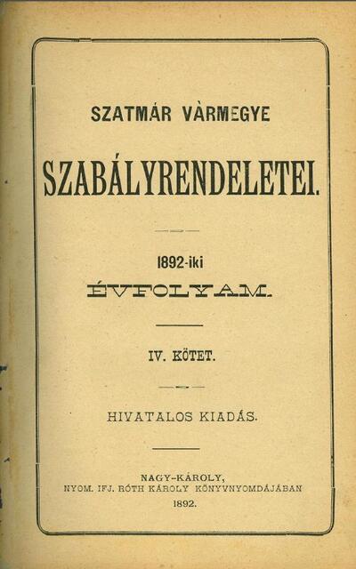 Szatmár vármegye szabályrendeletei 4.