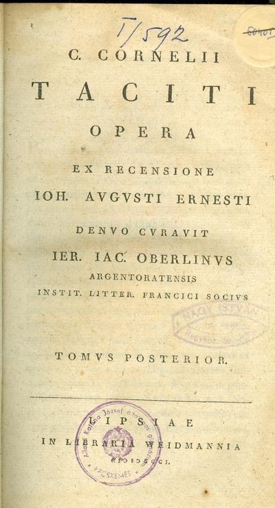 C. Cornelii Taciti opera II.