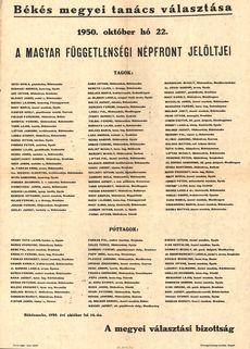 Békés megyei tanács választása (1950. október 22)