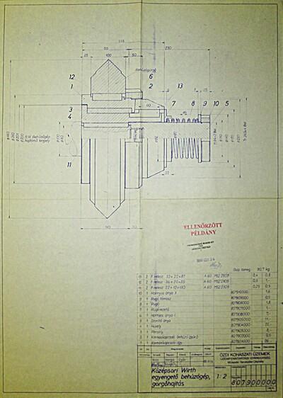 Középsori Wirth egyengető behúzógép, görgőhajtás