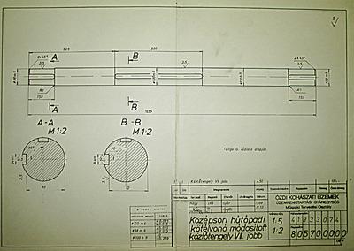 Középsori hűtőpadi kötélvonó módosított közlőtengely