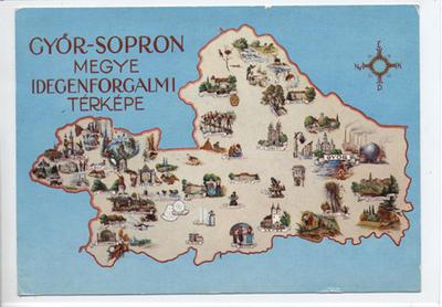 Győr-Sopron megye idegenforgalmi térképe képeslapon